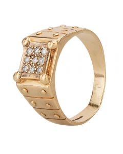 Second Hand 9ct Yellow Gold Nine Stone Diamond Patterned Signet Ring