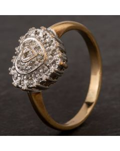 Second Hand 9ct Yellow Gold Diamond Tiered Heart Cluster Ring