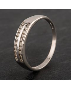 Second Hand 9ct White Gold Diamond Two Row Half Eternity Ring