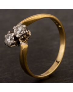 Second Hand 18ct Yellow Gold 0.30ct Diamond Two Stone Twist Ring