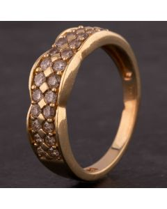Second Hand 9ct Yellow Gold Diamond Two Row Wave Half Eternity Band Ring