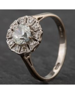 Second Hand 14ct White Gold Cubic Zirconia Centre Stone With Surrounding Diamonds Cluster Ring