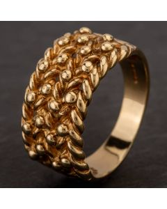 Second Hand 9ct Yellow Gold Four Row Keeper Ring