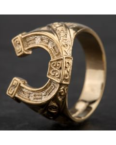 Second Hand 9ct Yellow Gold Horseshoe Signet Ring 4134224