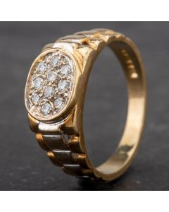 Second Hand 9ct Yellow Gold Cubic Zirconia Signet Ring 4134251