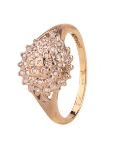 Second Hand 9ct Yellow Gold Illusion Diamond Cluster Ring