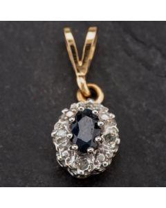 Second Hand 9ct Yellow Gold Diamond and Sapphire Pendant 4139984