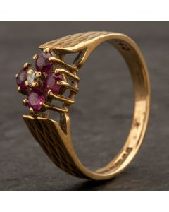 Second Hand 9ct Yellow Gold Diamond Ruby Cluster Ring