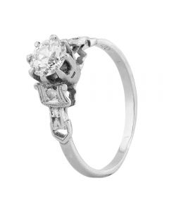 Second Hand White Gold Old Cut 0.50ct Diamond Solitaire Ring LOT96 (6/15)