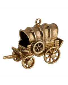 Second Hand 9ct Yellow Gold Old Wagon Charm Pendant