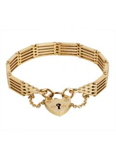 Second Hand 9ct Yellow Gold Five Bar Gate Bracelet