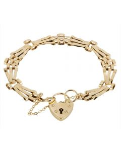 Second Hand 9ct Yellow Gold Three Bar Gate Bracelet