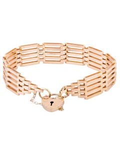 Second Hand 9ct Yellow Gold 7 Inch Five Bar Gate Bracelet 4153194