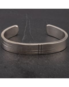 Second Hand Engraved Silver Heavy Open Bangle 4155945