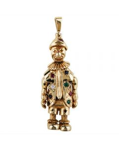 Second Hand 9ct Yellow Gold Stone Set Clown Pendant