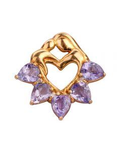 Second Hand 18ct Yellow Gold Tanzanite and Diamond Heart Pendant