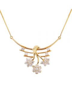 Second Hand 18ct Yellow Gold 1.35ct Diamond Floral Spray Necklace