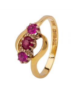 Second Hand 18ct Yellow Gold Sunthetic Ruby Ring