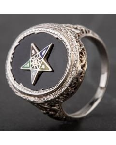 Second Hand Oval Onyx Star Signet Ring 4157467