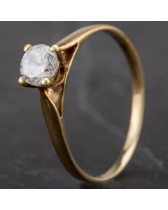 Second Hand 9ct Yellow Gold 4 Claw Cubic Zirconia Solitaire Ring 4157960
