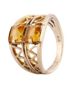 Second Hand 9ct Yellow Gold Fancy Square Citrine Ring
