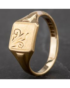 Second Hand 9ct Yellow Gold Square Engraved Signet Ring 4163888