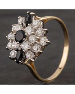 Second Hand 9ct Yellow Gold Sapphire and Cubic Zirconia Cluster Ring