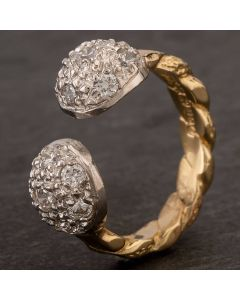 Second Hand 9ct Two Colour Gold Cubic Zirconia Patterned Torque Ring