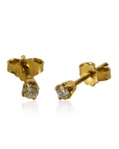 Second Hand 9ct Yellow Gold Four Claw Diamond Stud Earrings