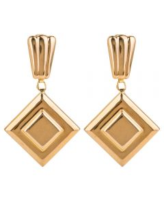 Second Hand 9ct Yellow Gold Square Dropper Earrings