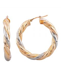 Second Hand 18ct Two Colour Gold Twist Hoop Earrings 4165969