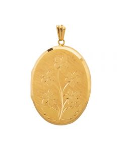 Second Hand Large Oval Flower Locket 4166400