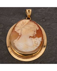 Second Hand 9ct Yellow Gold Large Cameo Loose Pendant