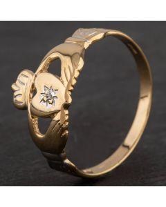 Second Hand 9ct Yellow Gold Diamond Set Claddagh Ring
