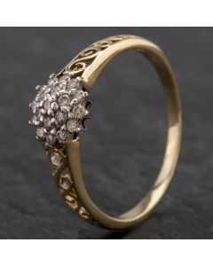Second Hand 9ct Yellow Gold Diamond Cluster Open Work Swirl Shoulders Ring