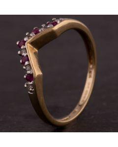 Second Hand Yellow Gold Diamond Ruby Half Wishbone Ring 4167170