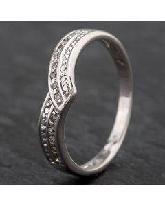 Second Hand 9ct White Gold Diamond 2 Row 1/2 Wishbone Ring