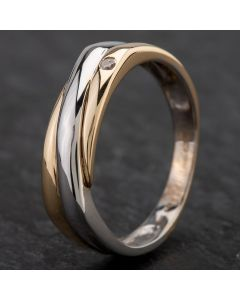 Second Hand 9ct Gold 2 Colour Diamond Set Band Ring