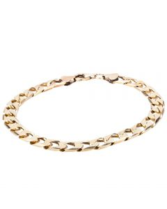 Second Hand 9ct Yellow Gold Mens Curb Chain Bracelet
