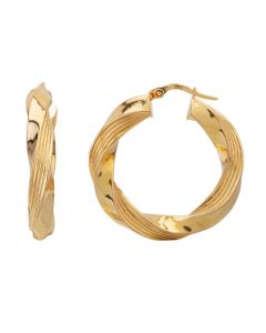 Second Hand 9ct Yellow Gold Twisted Hoop Earrings