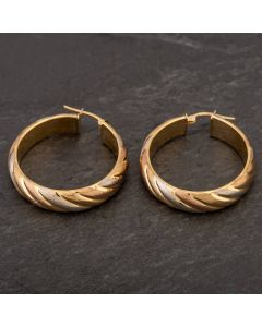 Second Hand 9ct Three Colour Gold Hoop Earrings