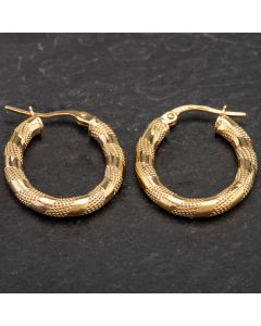 Second Hand 9ct Yellow Gold Oval Patterned Hoop Earrings 4183902