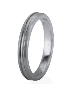 Second Hand 18ct White Gold 3mm Grooved Wedding Ring