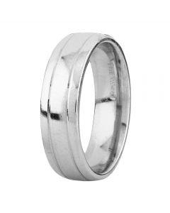 Second Hand Palladium 6mm Wide Tram Lined Plain Wedding Ring