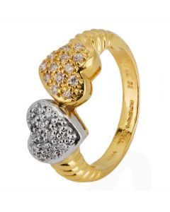 Second Hand 18ct Yellow Gold Diamond Double Heart Ring