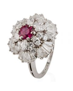 Second Hand Platinum Ruby and Multi Diamond Cluster Ring
