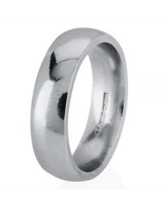 Second Hand Platinum 5mm Court Profile Plain Wedding Ring 4222032