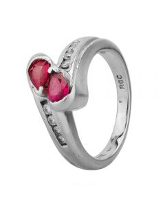 Second Hand 14ct White Gold Ruby And Diamond Crossover Ring 4229574