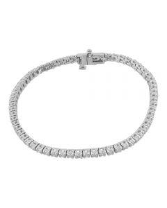 Second Hand 9ct White Gold 2.70ct Diamond Tennis Bracelet