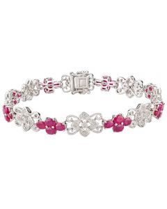 Second Hand 14ct White Gold Ruby and Diamond Bracelet